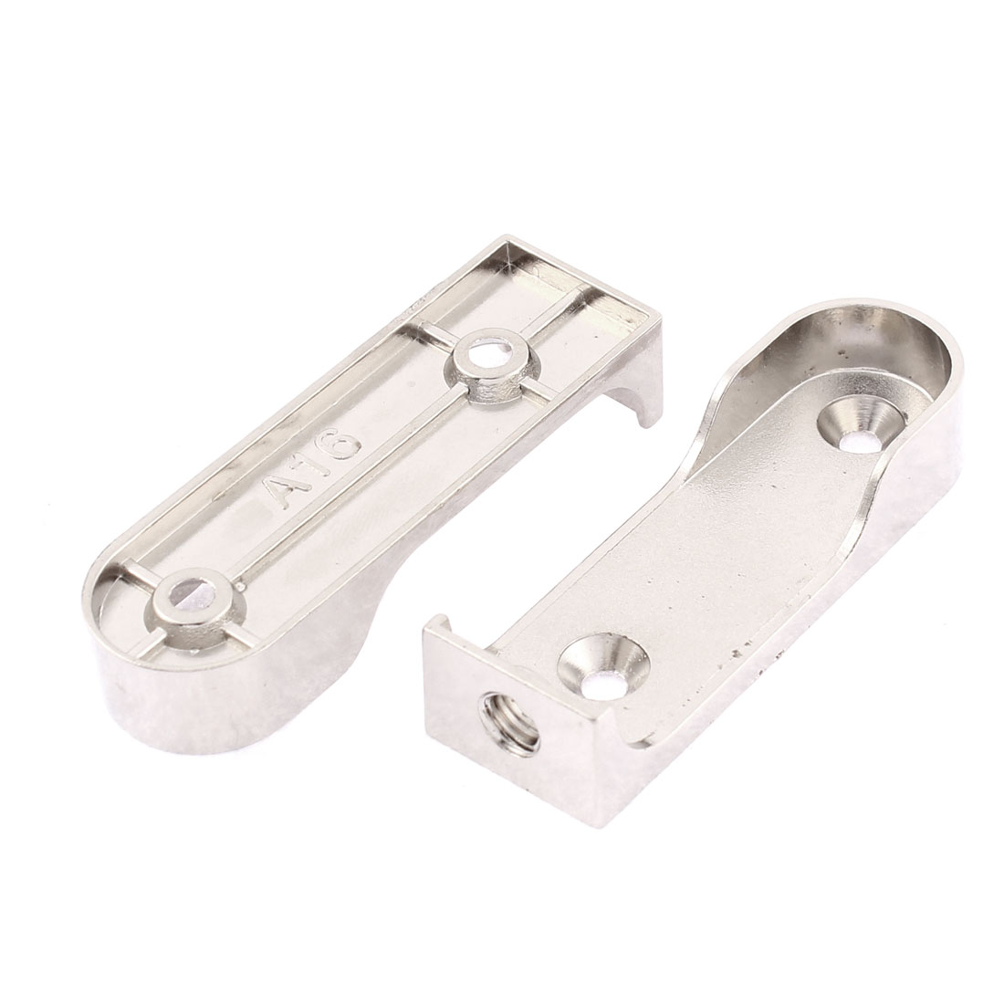 Clothes Closet Rod Flange Holder Support Bracket 63mm Length 2Pcs