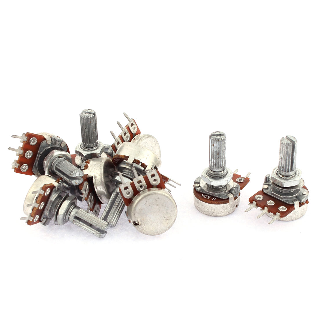 9PCS B50K 50K Ohm 6mm Knurled Shaft Single Linear Adjustable Rotary Knob Potentiometers