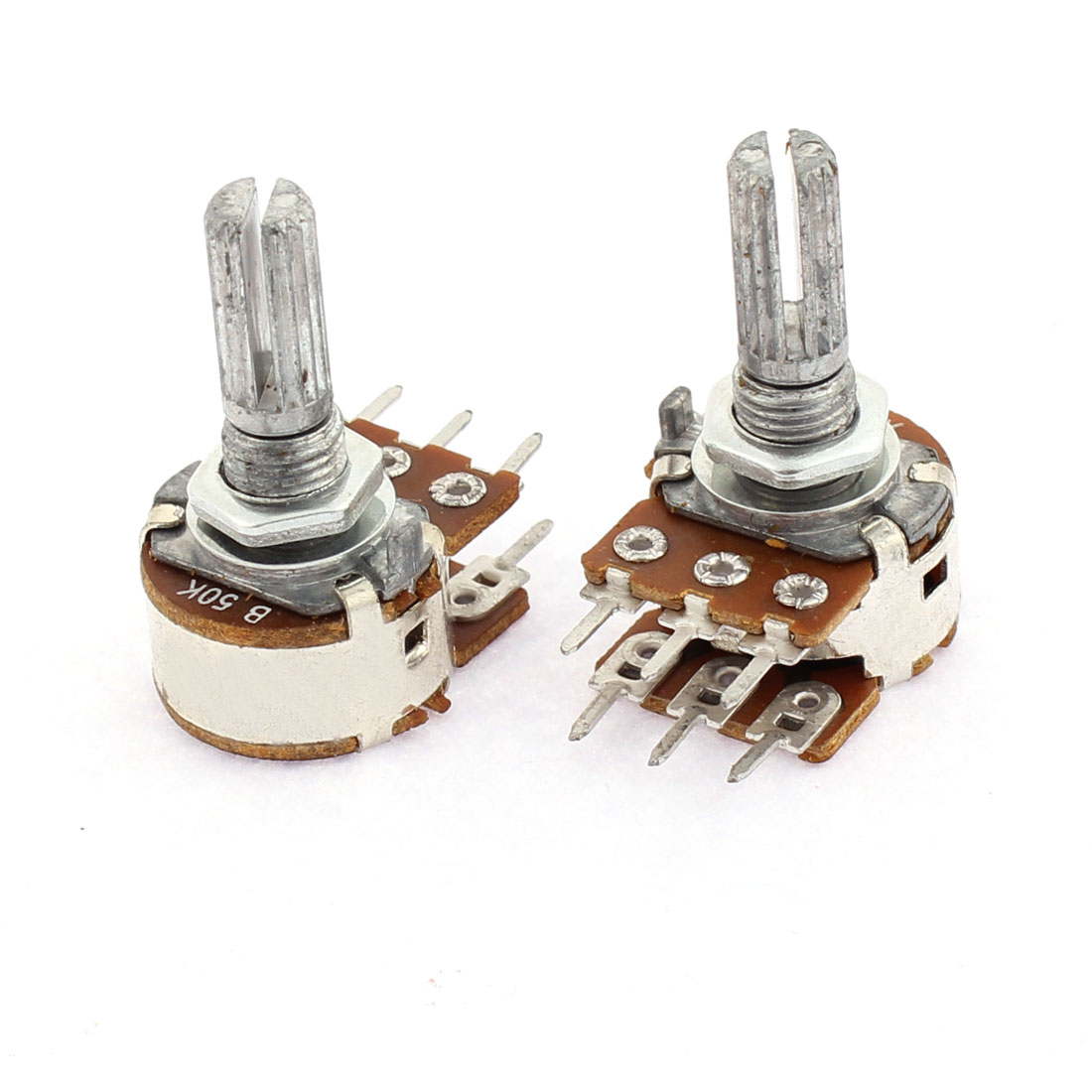 2PCS B50K Type 6 Terminal Dual Linear Rotary Taper Potentiometer