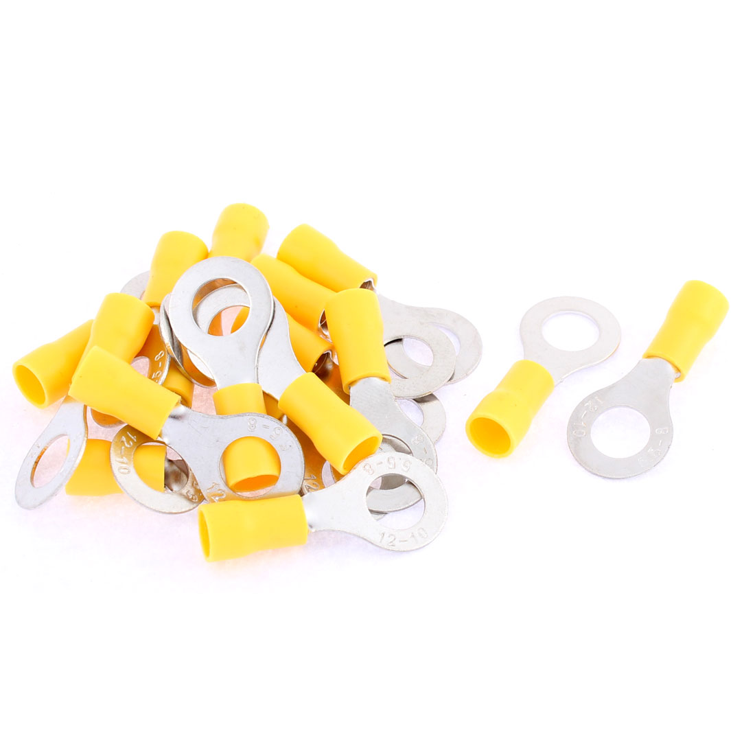 17Pcs RV5.5-8 Yellow Plastic Sleeve Pre Insulated Ring Terminals Connector for AWG 12-10 Wire
