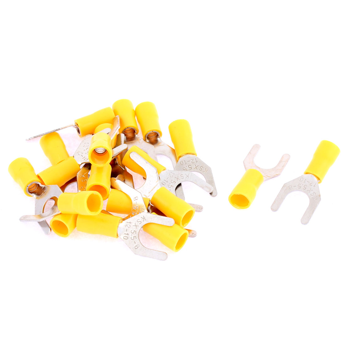 19Pcs SV5.5-8 AWG 12-10 Yellow Pre Insulated Fork Terminals Connectors