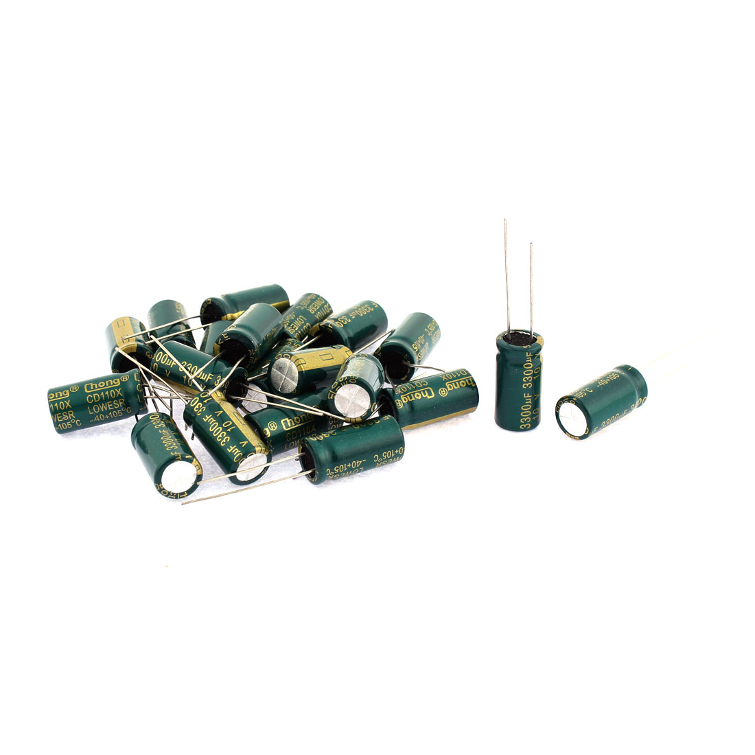20PCS Radial Lead Aluminum Electrolytic Capacitors 3300uF 10V