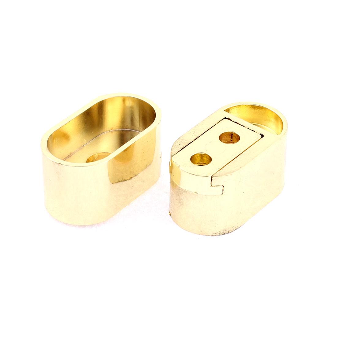 Clothes Closet Rod Flange Holder Bracket Gold Tone 2Pcs