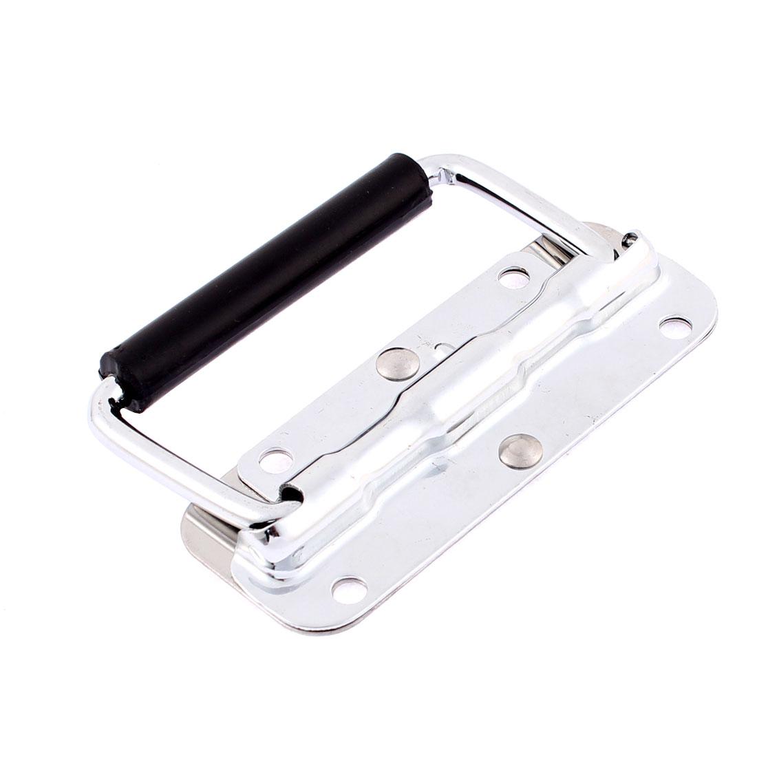 Spring Loaded Plastic Grip Metal Pull Handle Silver Tone Black
