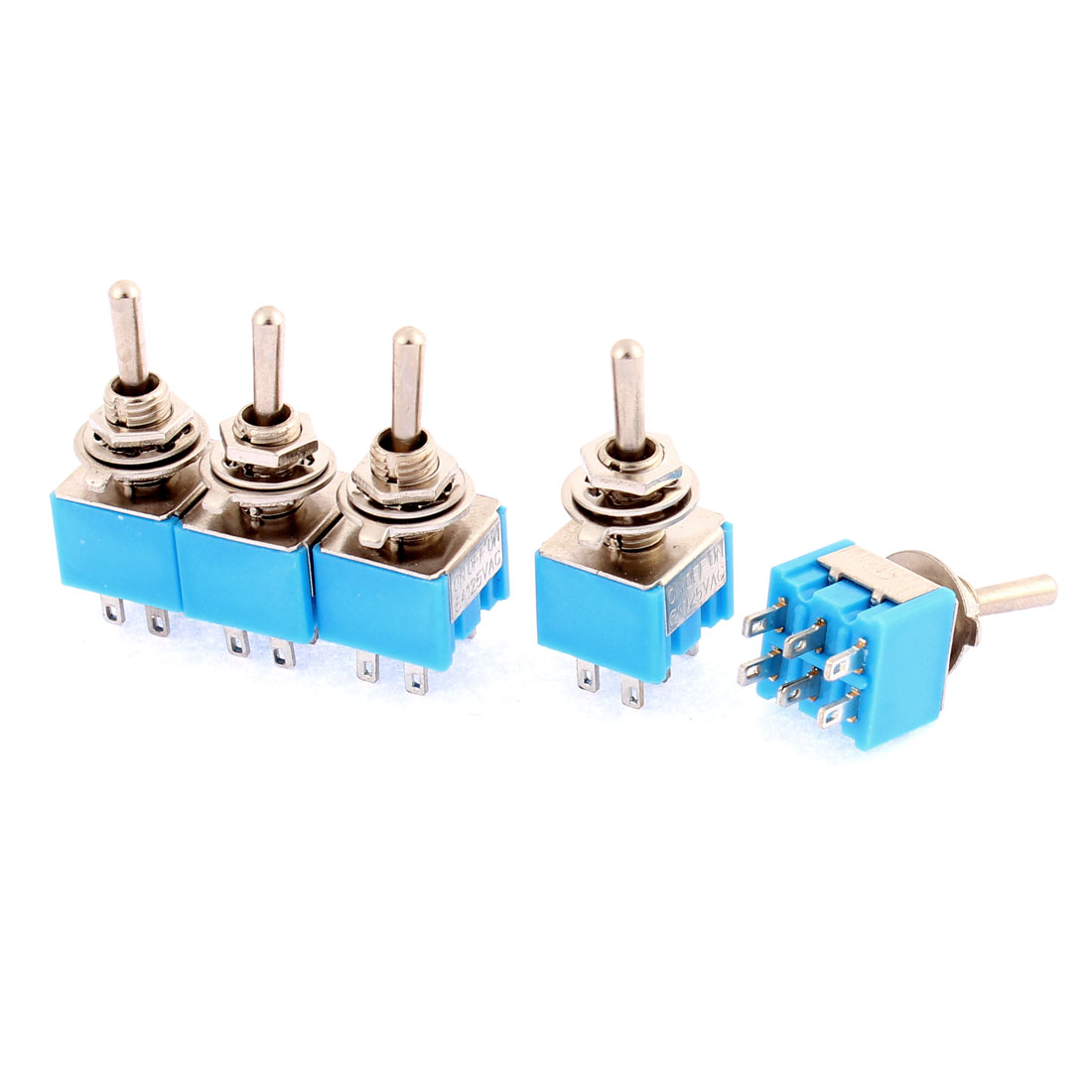AC125V 6A 6 Terminals 3 Position On/Off/On DPDT Toggle Switch 5Pcs