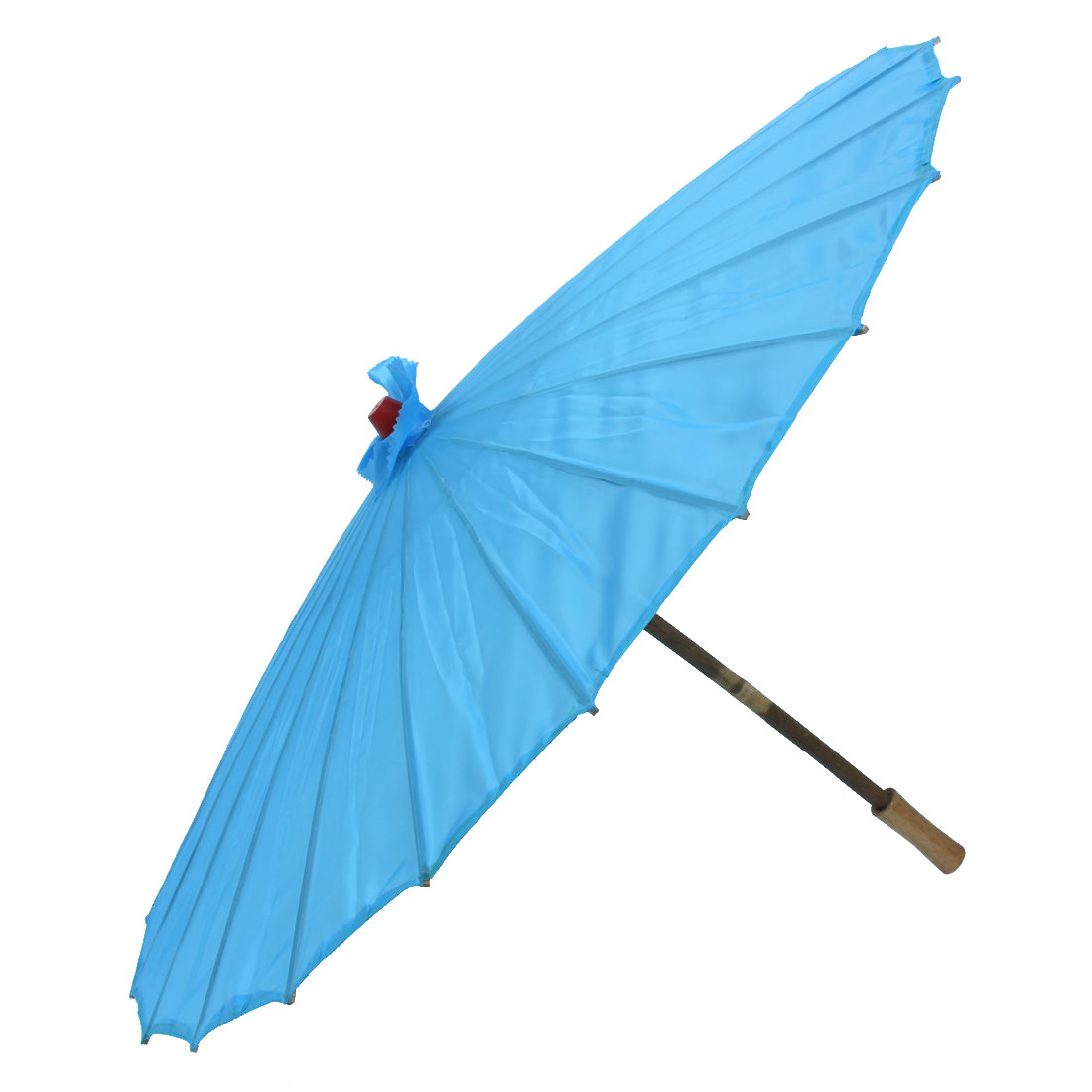 Bamboo Japanese Chinese Style Traditional Manually Dancing Umbrella Parasol Light Blue 78cm Dia