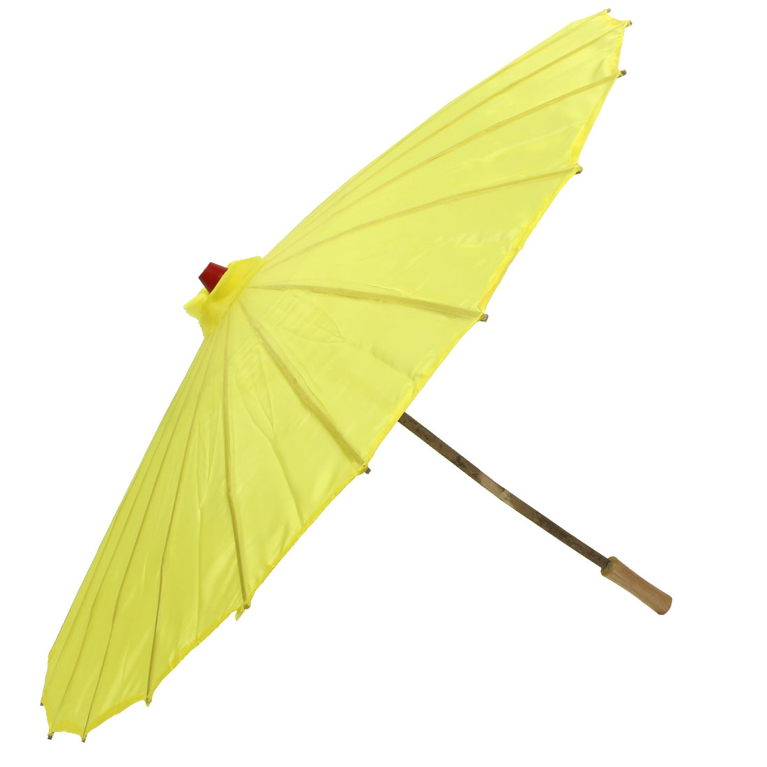 Bamboo Japanese Chinese Style Traditional Manually Dancing Umbrella Parasol Yellow 78cm Dia