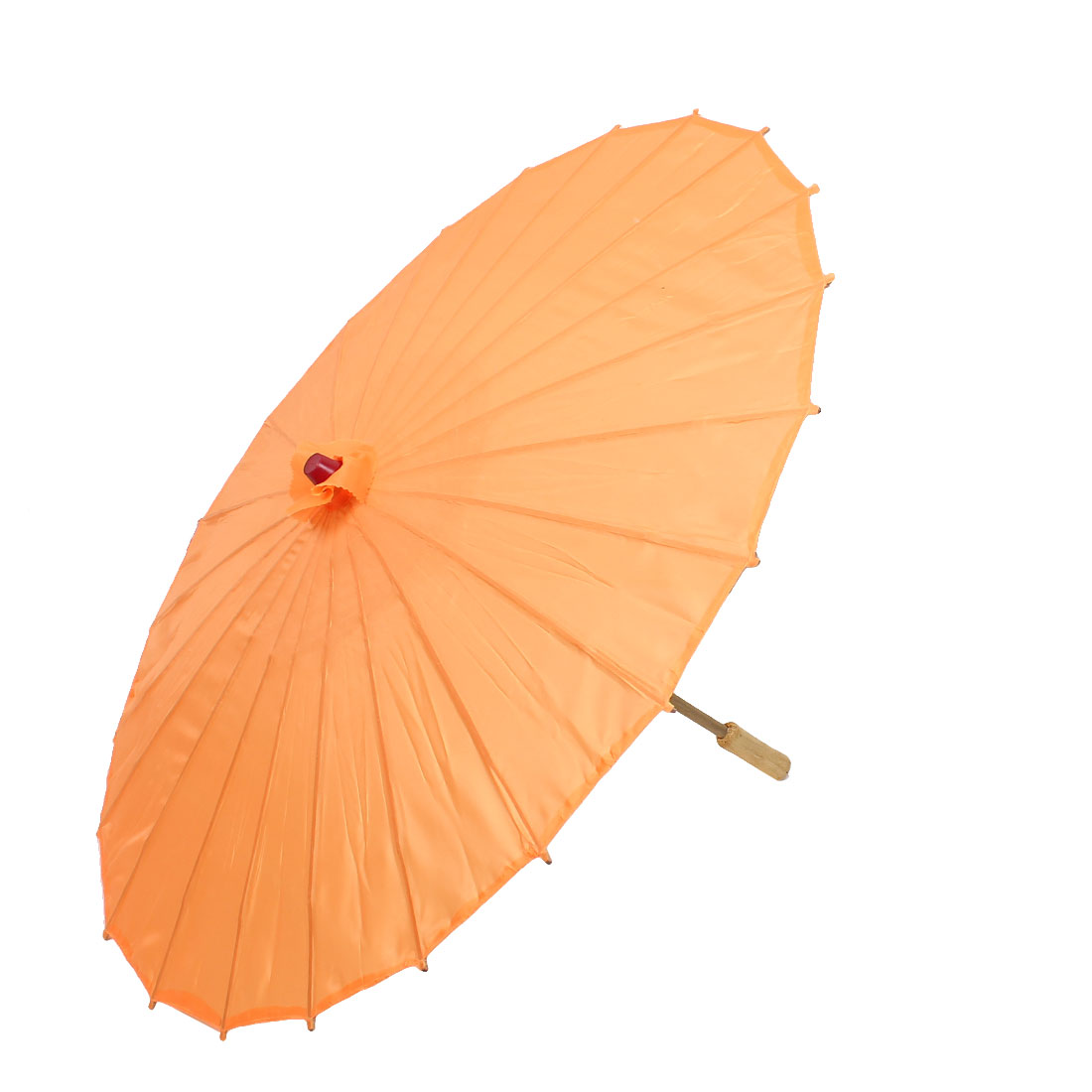 Bamboo Japanese Chinese Style Traditional Manually Dancing Umbrella Parasol Orange 78cm Dia