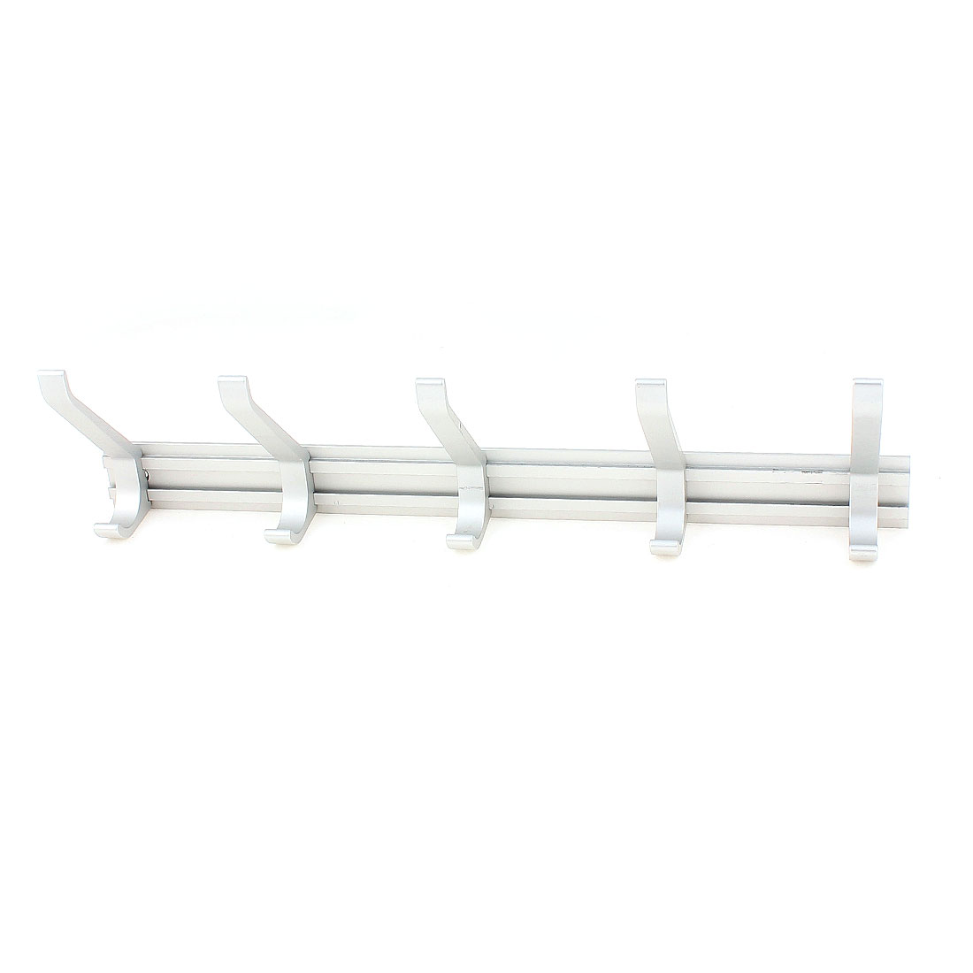 Bathroom Aluminum Wall Mount Towel Coat Hat Bag 5 Hooks Hanger Rack Silver Tone
