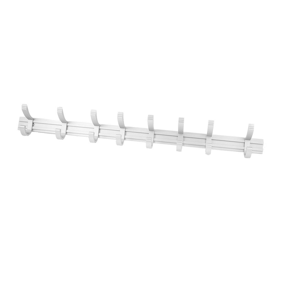 Bathroom Aluminum Wall Mount Towel Coat Hat Bag 8 Hooks Hanger Rack Silver Tone