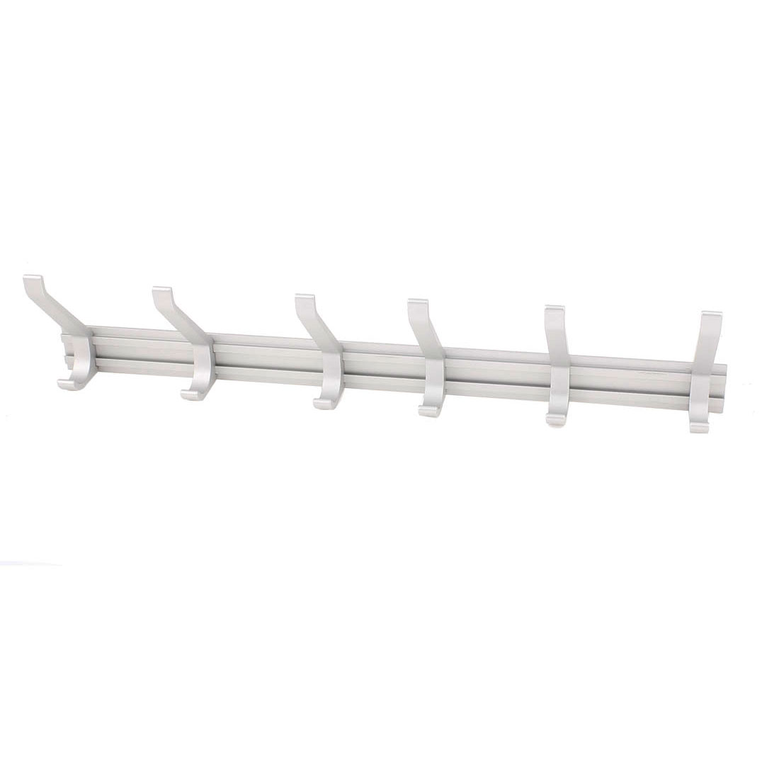 Washroom Aluminum Wall Mount Towel Coat Hat Bag 7 Hooks Hanger Rack Silver Tone