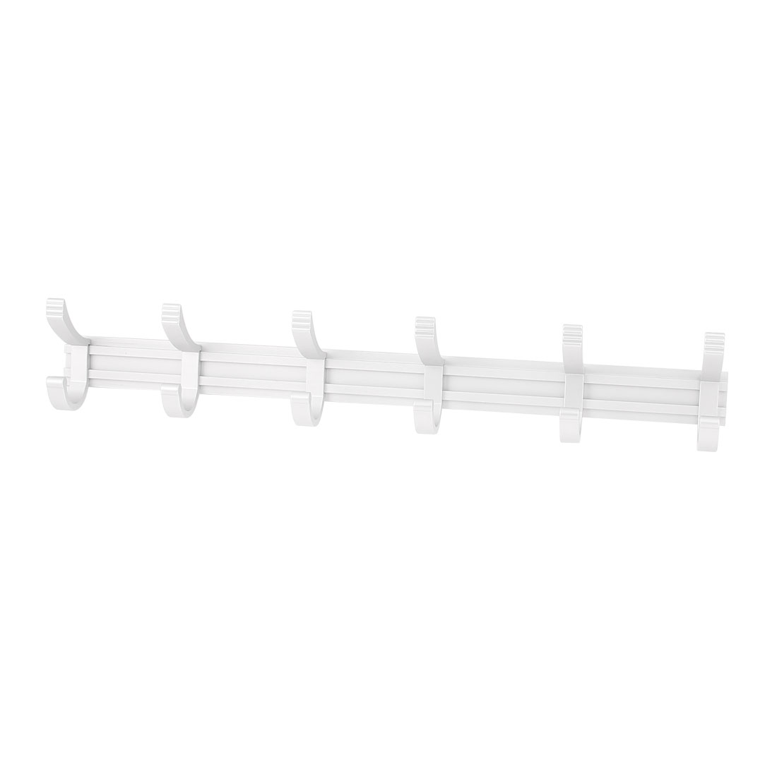 Home Aluminum Wall Mounted Towel Clothes Hat Bag 6 Hooks Hanger Rack Silver Tone