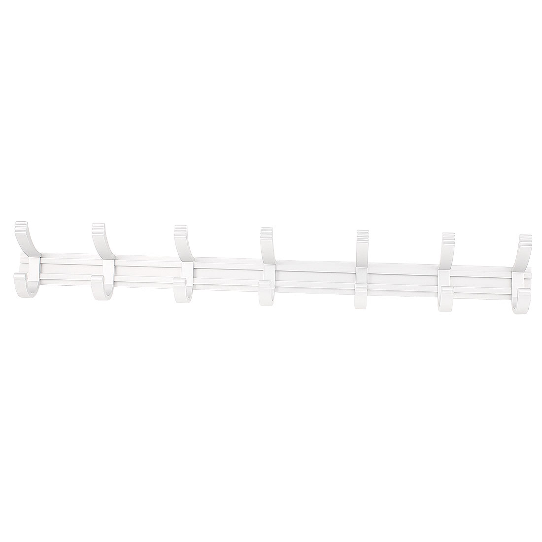 Family Aluminum Wall Mount Towel Clothes Hat Bag 7 Hooks Hanger Rack Silver Tone