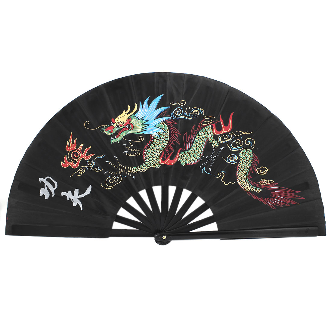 Chinese Kungfu Dragon Print Folding Dancing Exercise Plastic Hand Fan Black