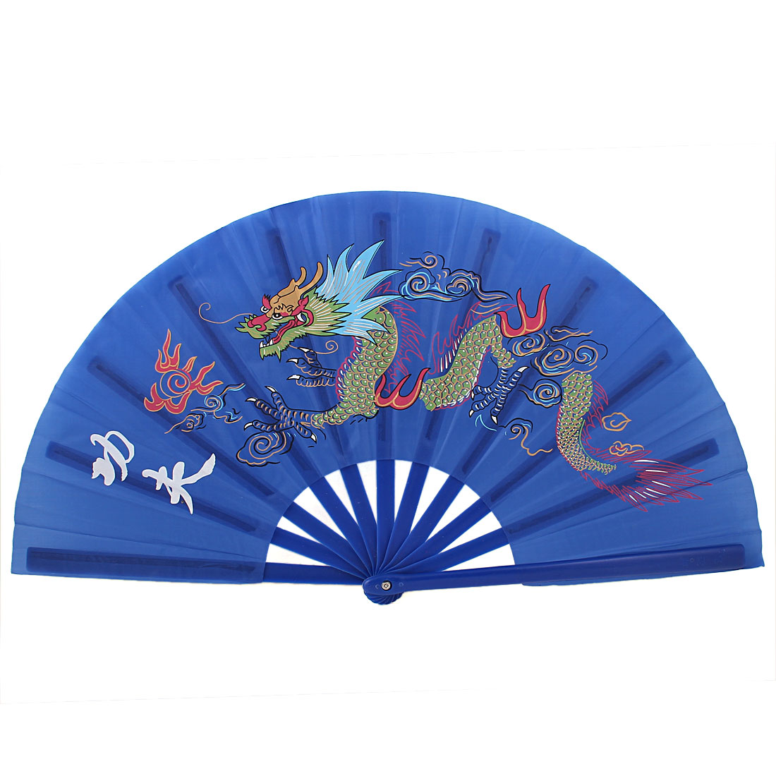 Chinese Kungfu Dragon Print Folding Dancing Exercise Plastic Hand Fan Blue
