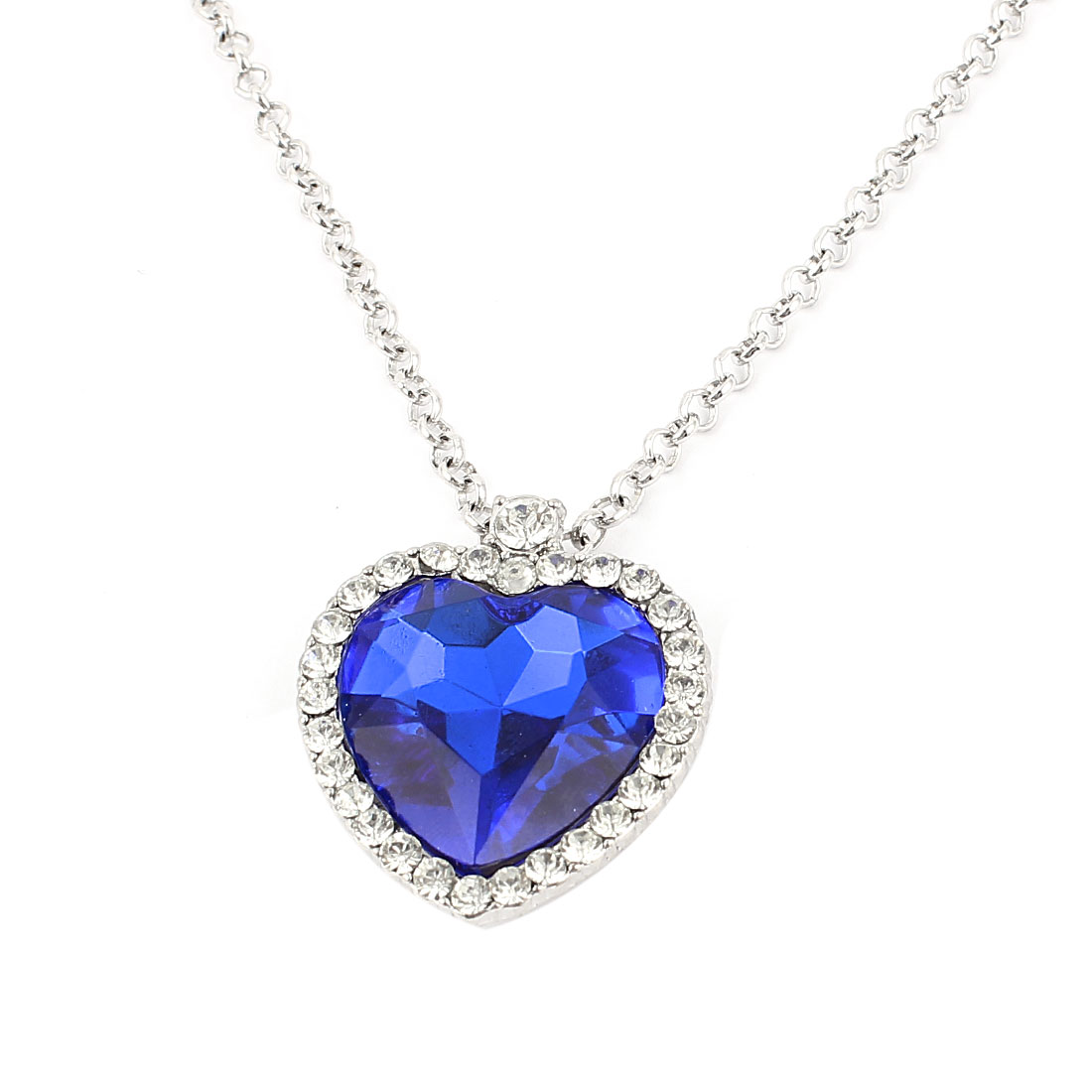 Lady Metal Chain Heart Shape Crystal Pendant Fashion Necklace Silver Tone Blue
