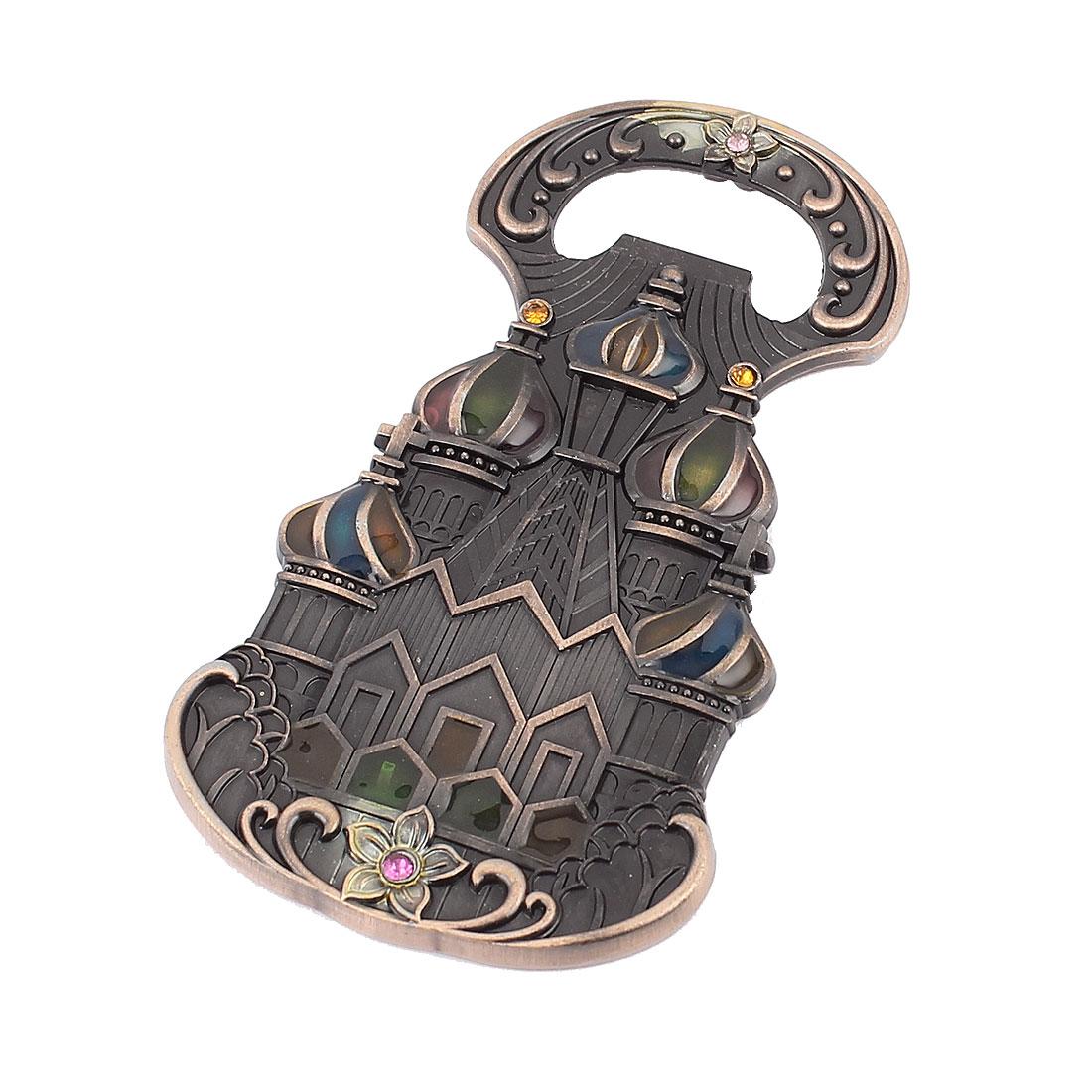 Castle Design Bronze Tone Vintage Style Bottle Opener Magnetic Fridge Sticker