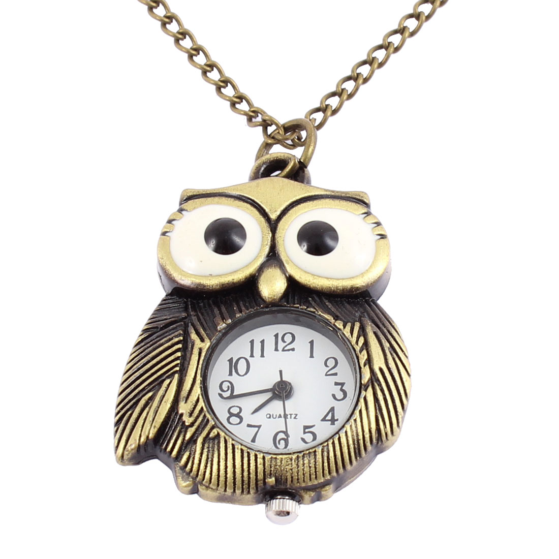 Men Women Vintage Style Owl Shape Quartz Necklace Pocket Watch Bronze Tone