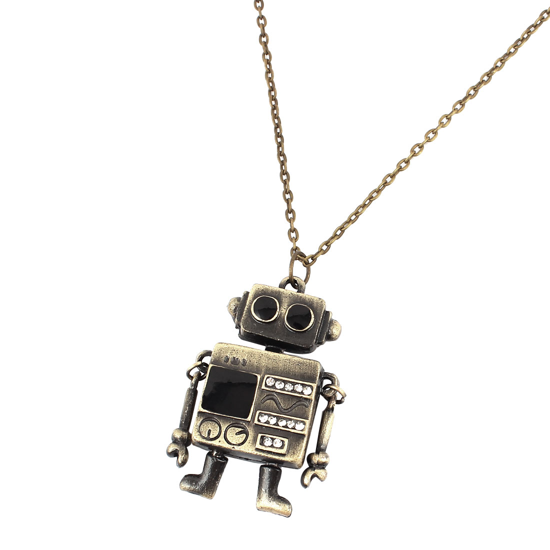Women Lady Fashion Jewelry Vintage Style Robot Pendant Necklace Bronze Tone