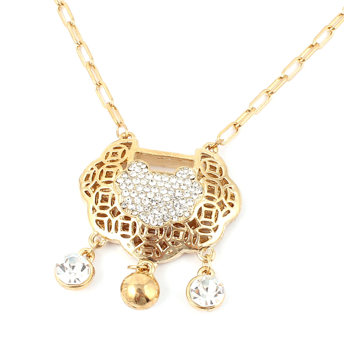 Rhinestone Decor Chinese Longevity Lock Pendant Fashion Necklace Gold Tone