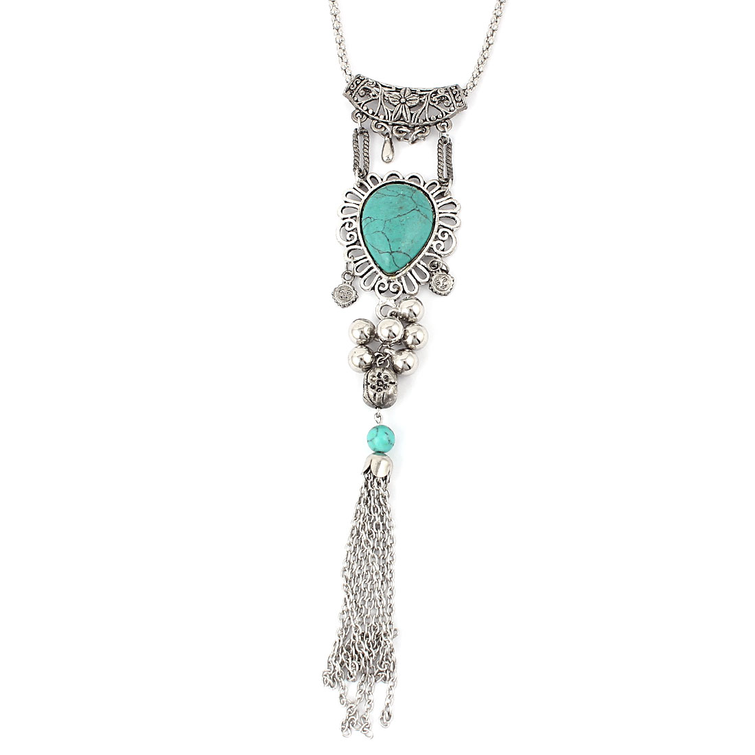 Lady Metal Chain Tassel Turquoise Pendant Fashion Jewelry Necklace Silver Tone