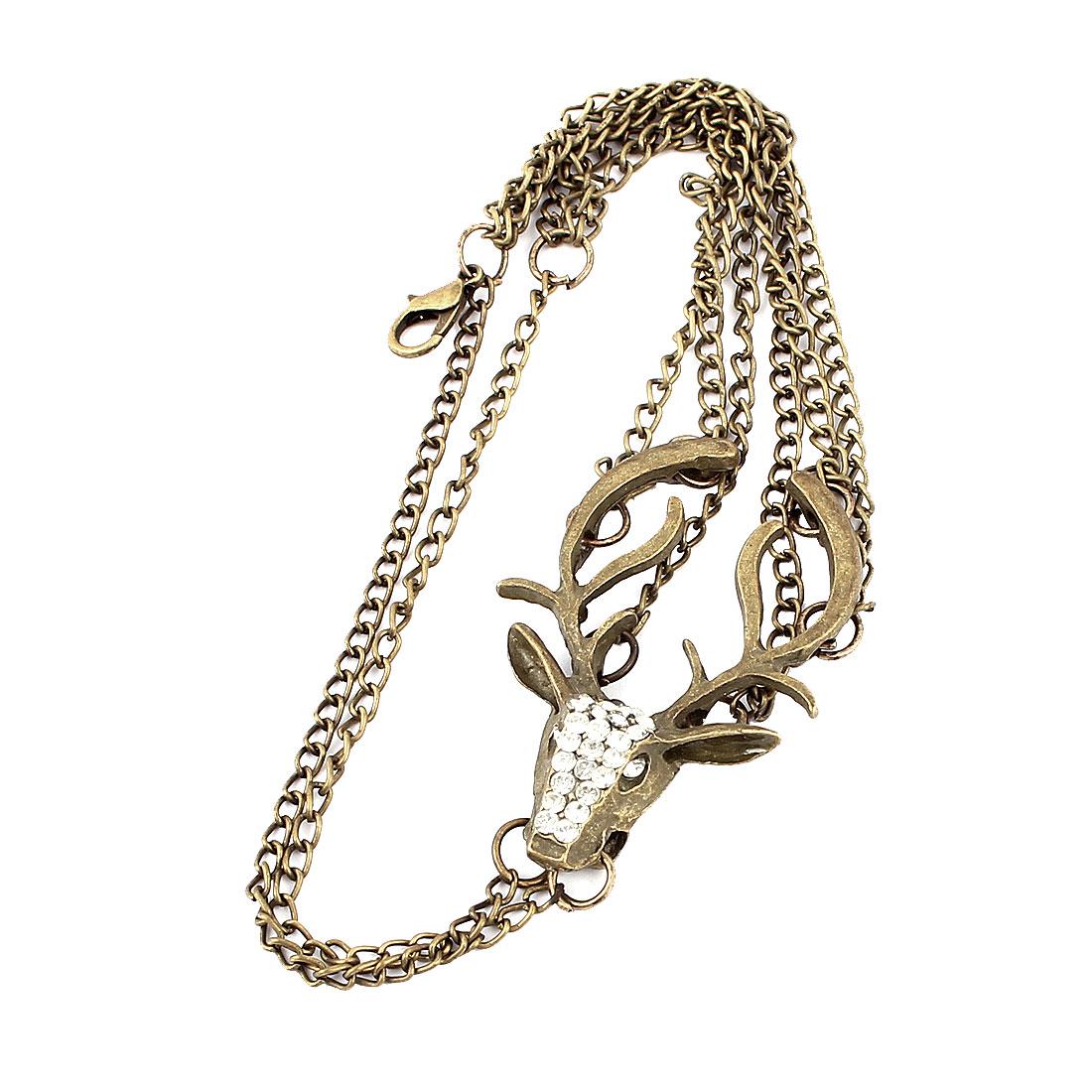 Women Fashion Jewelry Vintage Style Rhinestone Reindeer Pendant Bracelet Bronze Tone