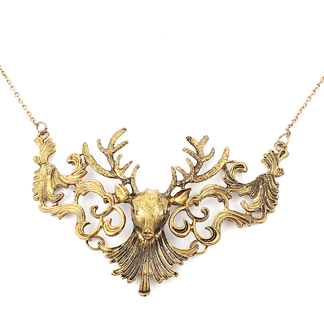 Women Lady Party Fashion Jewelry Vintage Style Elk Pendant Necklace Gold Tone