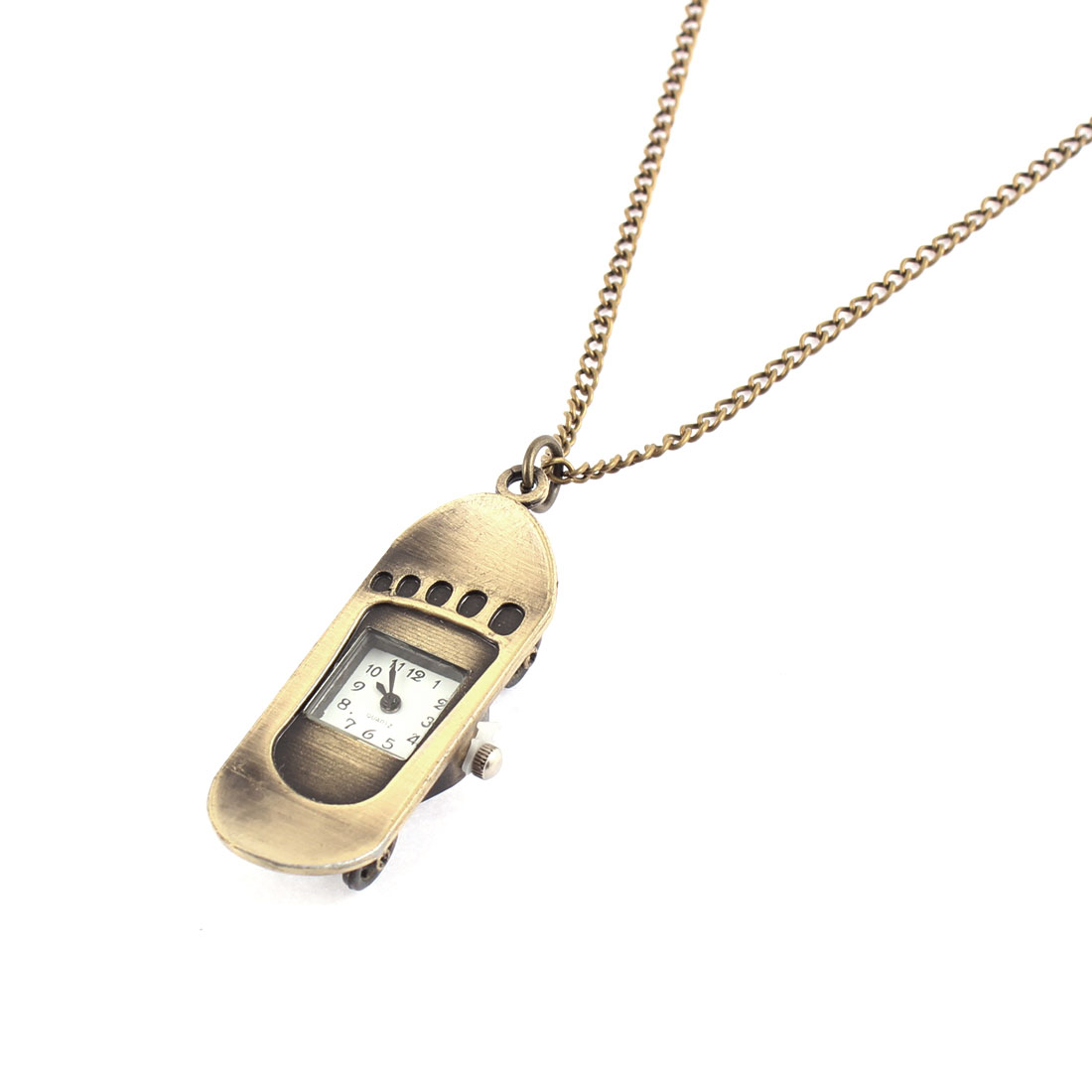 Men Women Retro Style Skateboard Shape Quartz Necklace Pocket Watch Bronze Tone