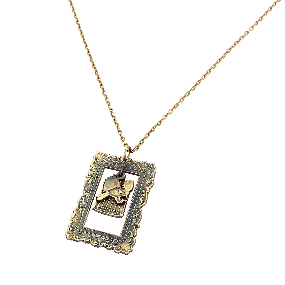 Women Lady Fashion Jewelry Vintage Style Bird Cage Pendant Necklace Bronze Tone