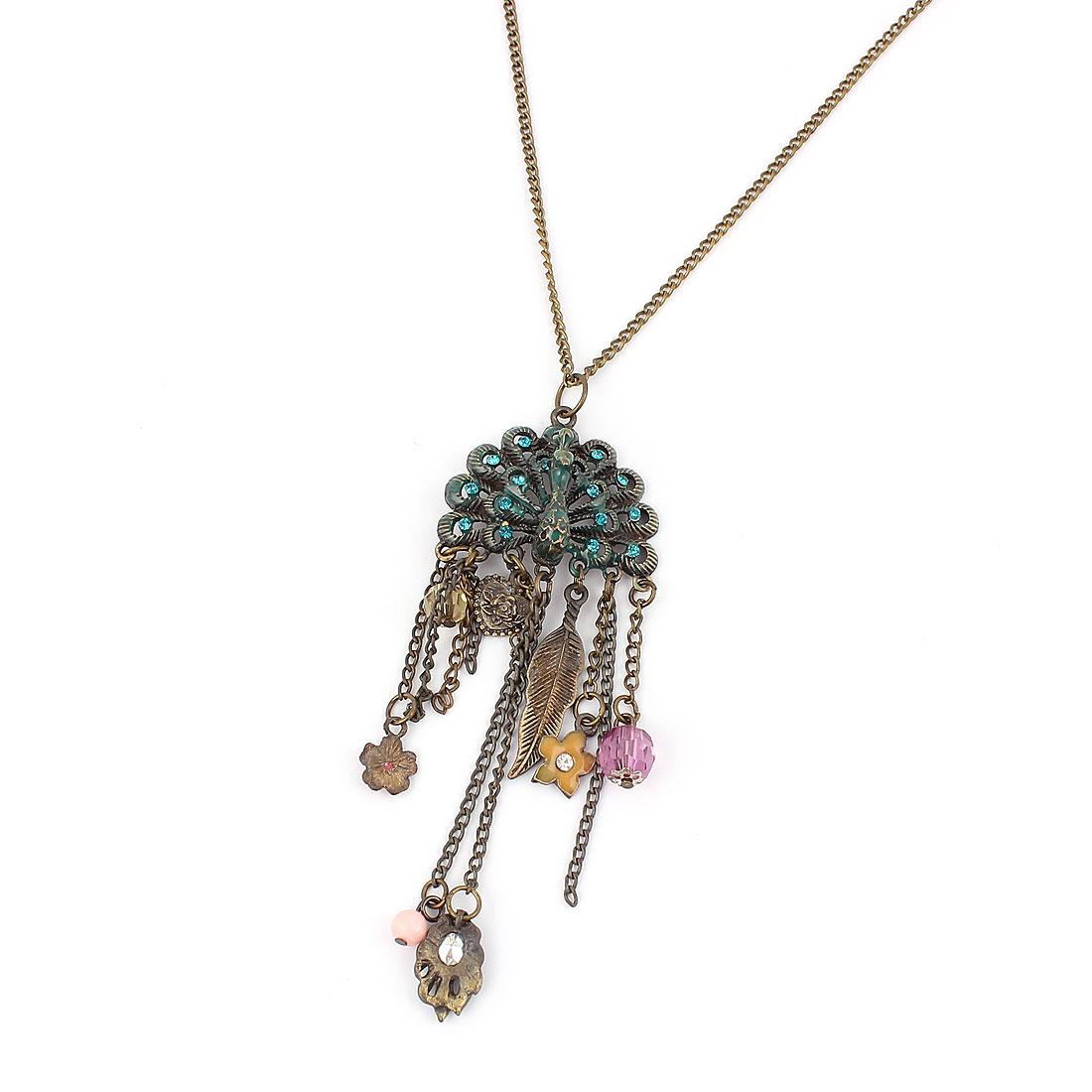 Women Fashion Jewelry Vintage Style Rhinestone Peacock Pendant Necklace Bronze Tone