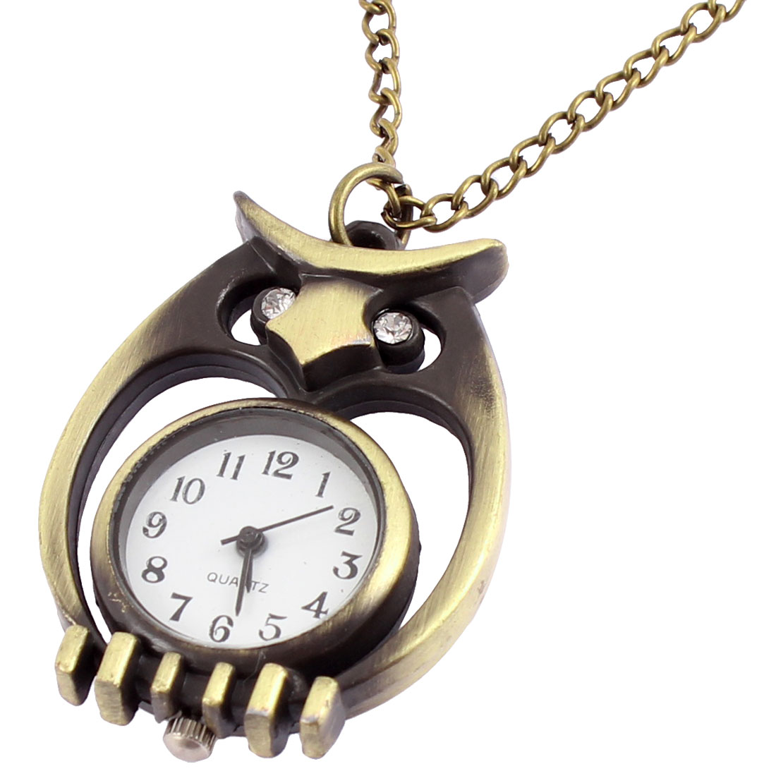 Unisex Fashion Retro Style Owl Shape Quartz Necklace Pocket Watch Bronze Tone