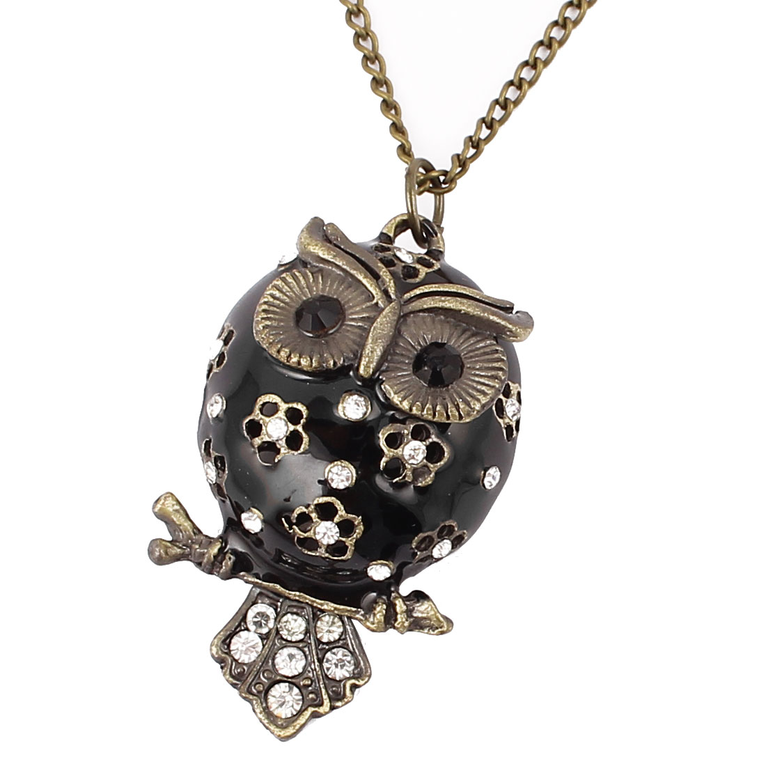 Women Fashion Jewelry Vintage Style Rhinestone Owl Pendant Necklace Bronze Tone Black