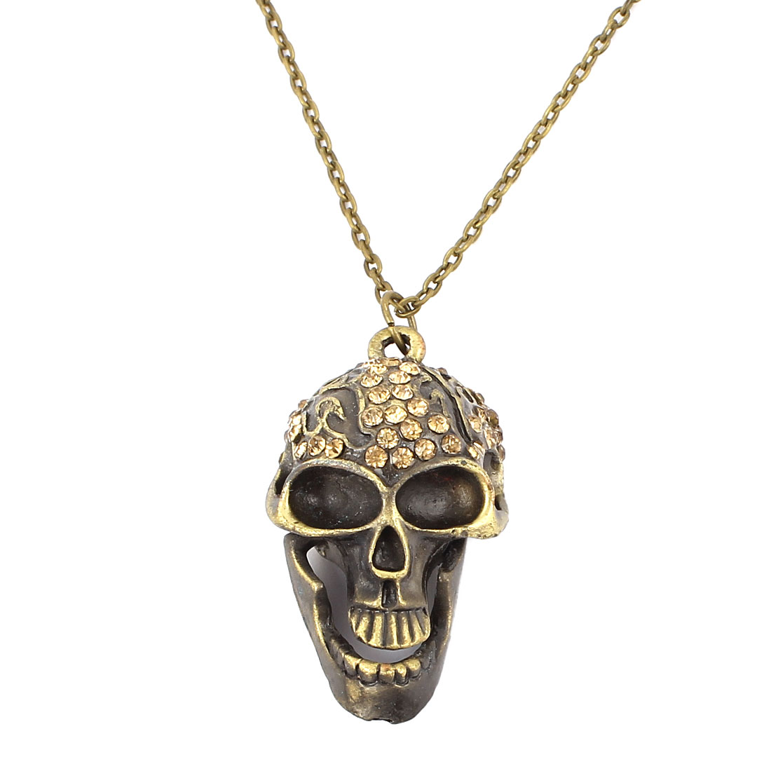 Women Fashion Jewelry Vintage Style Rhinestone Skull Pendant Necklace Bronze Tone