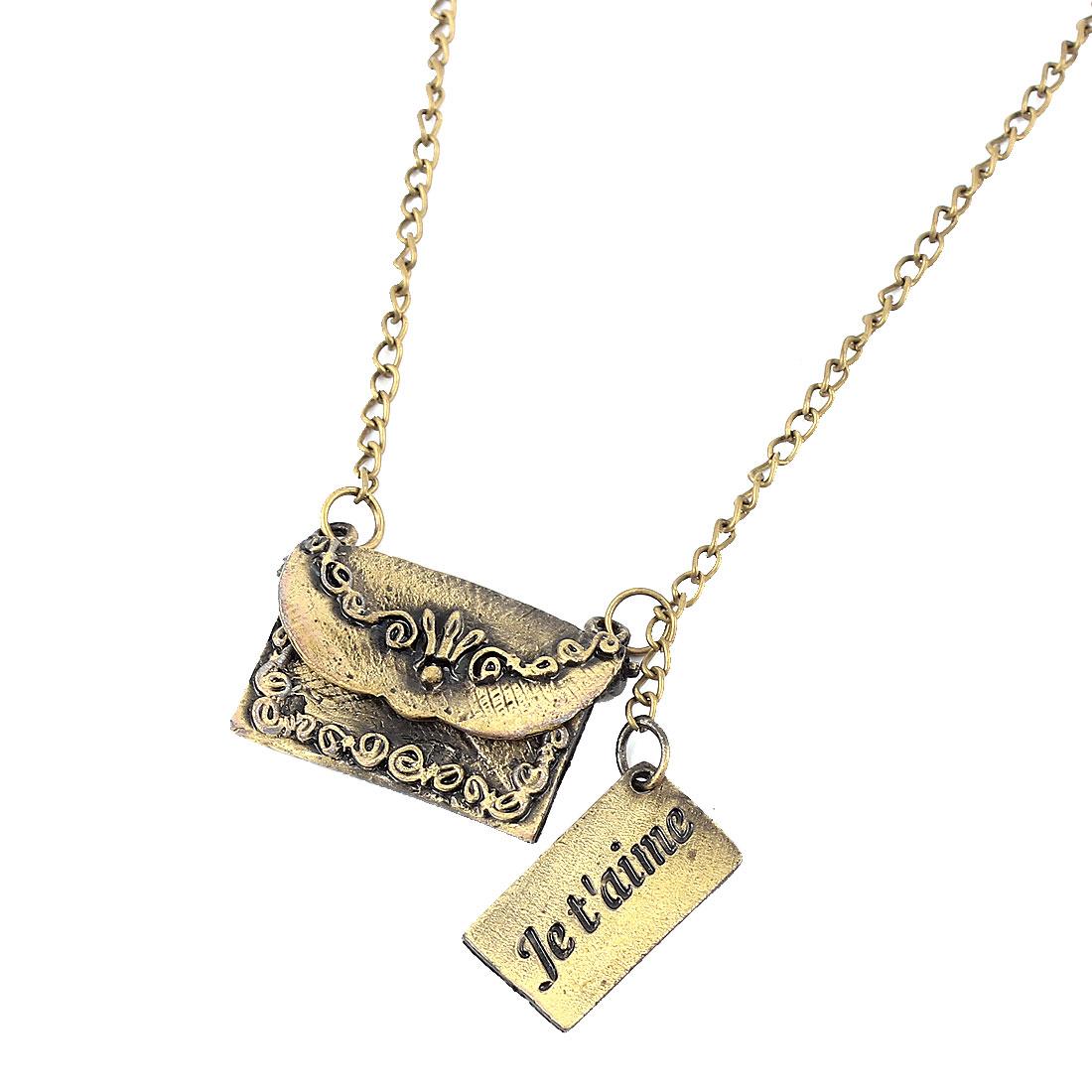 Women Lady Fashion Jewelry Vintage Style Handbag Pendant Necklace Bronze Tone