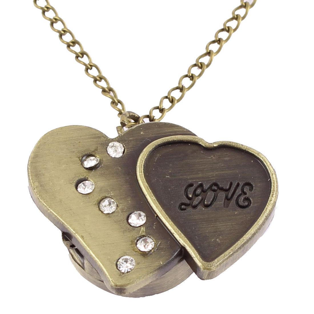Women Retro Style Double Heart Shape Quartz Necklace Pocket Watch Bronze Tone