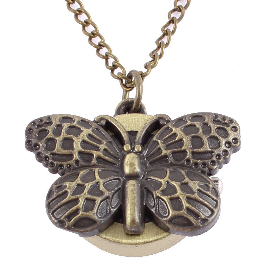 Men Women Retro Style Butterfly Shape Quartz Necklace Pocket Watch Bronze Tone