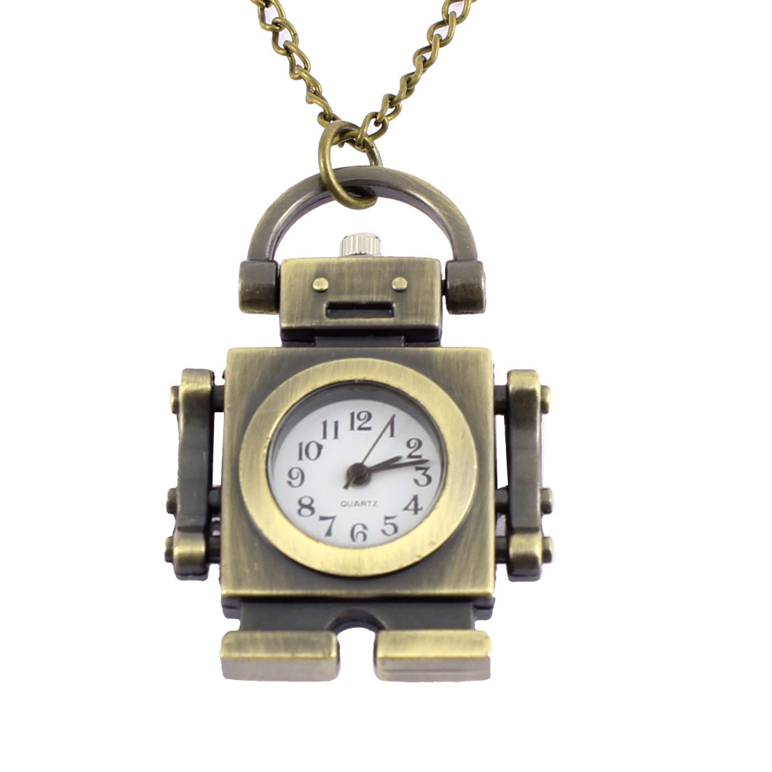Men Women Retro Style Robot Shape Quartz Necklace Pocket Watch Bronze Tone