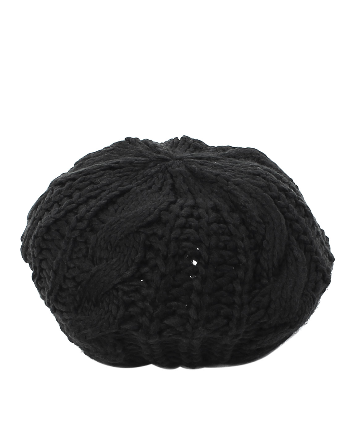 Lady Fashion Winter Warm Soft Knitted Crochet Baggy Beret Hat Beanie Cap Black