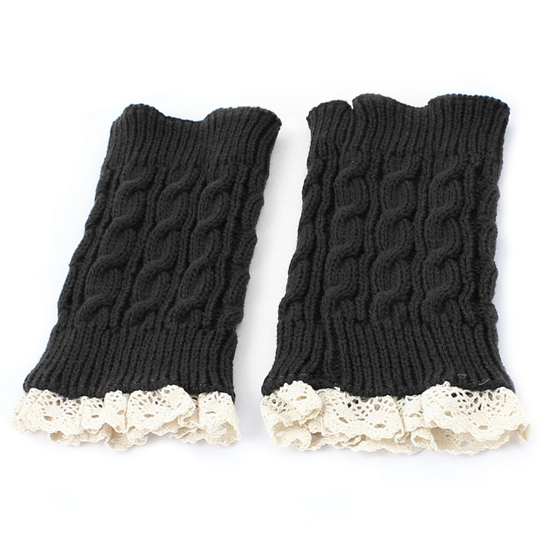Lady Winter Lace Trim Knitted Crochet Leg Warmers Boot Cuff Pair Beige Dark Gray