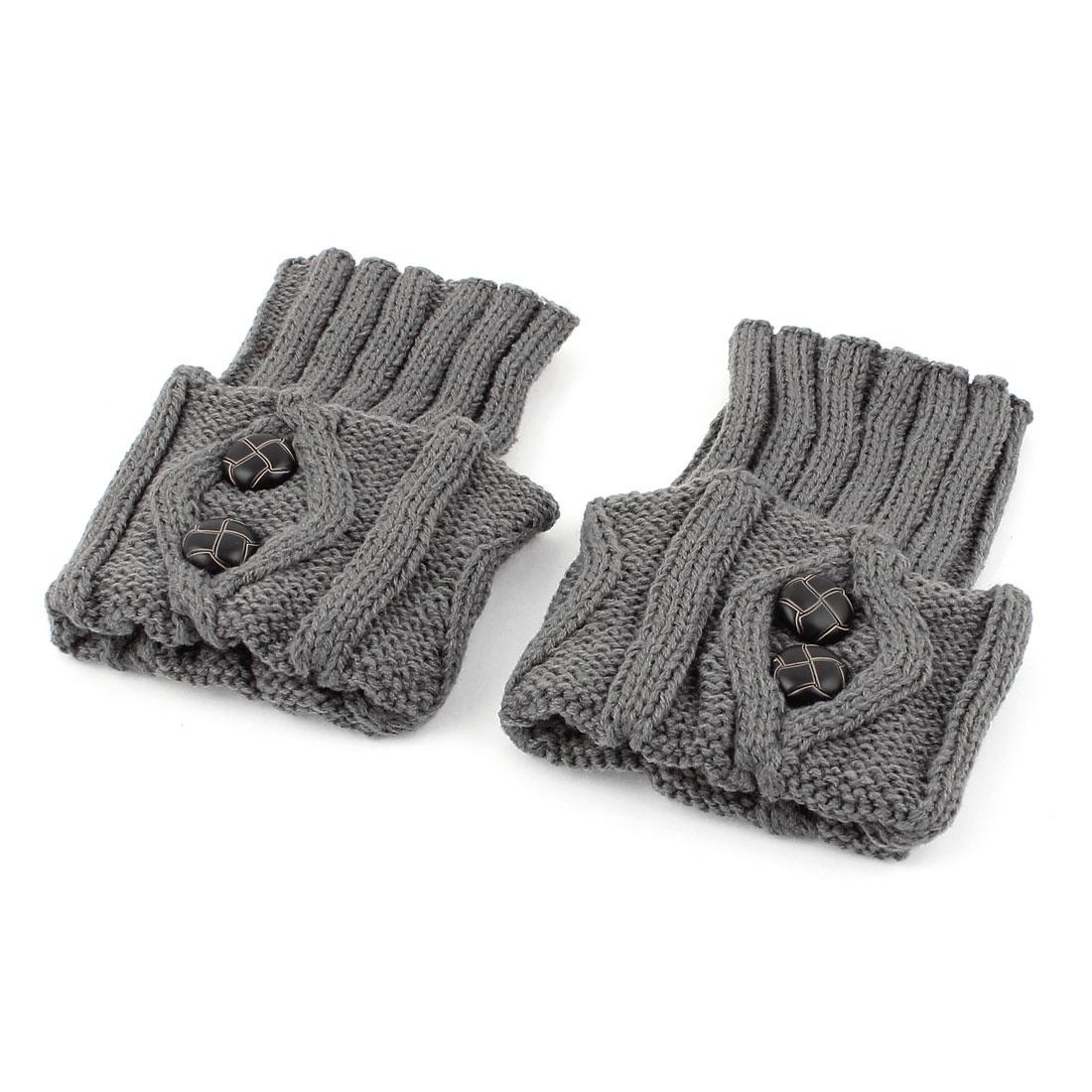 Lady Women Winter Buttons Decor Knitted Crochet Leg Warmers Boot Cuff Pair Gray