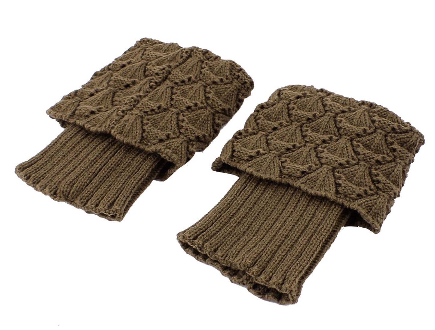 Women Lady Winter Knitted Crochet Leg Warmers Boot Cover Cuff Socks Pair Khaki