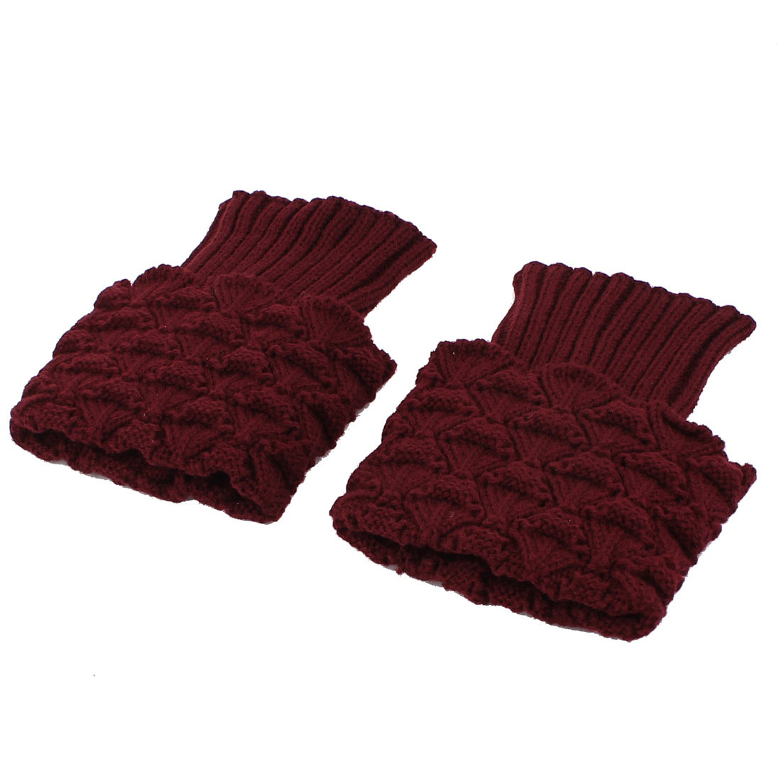 Women Winter Knitted Crochet Leg Warmers Boot Cover Cuff Socks Pair Burgundy