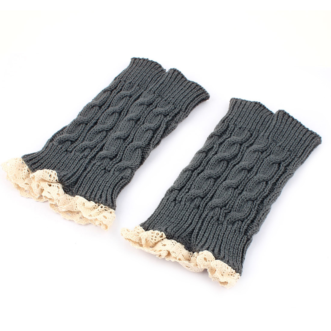 Ladies Winter Lace Trim Knitted Crochet Leg Warmers Boot Cuff Pair Gray Beige