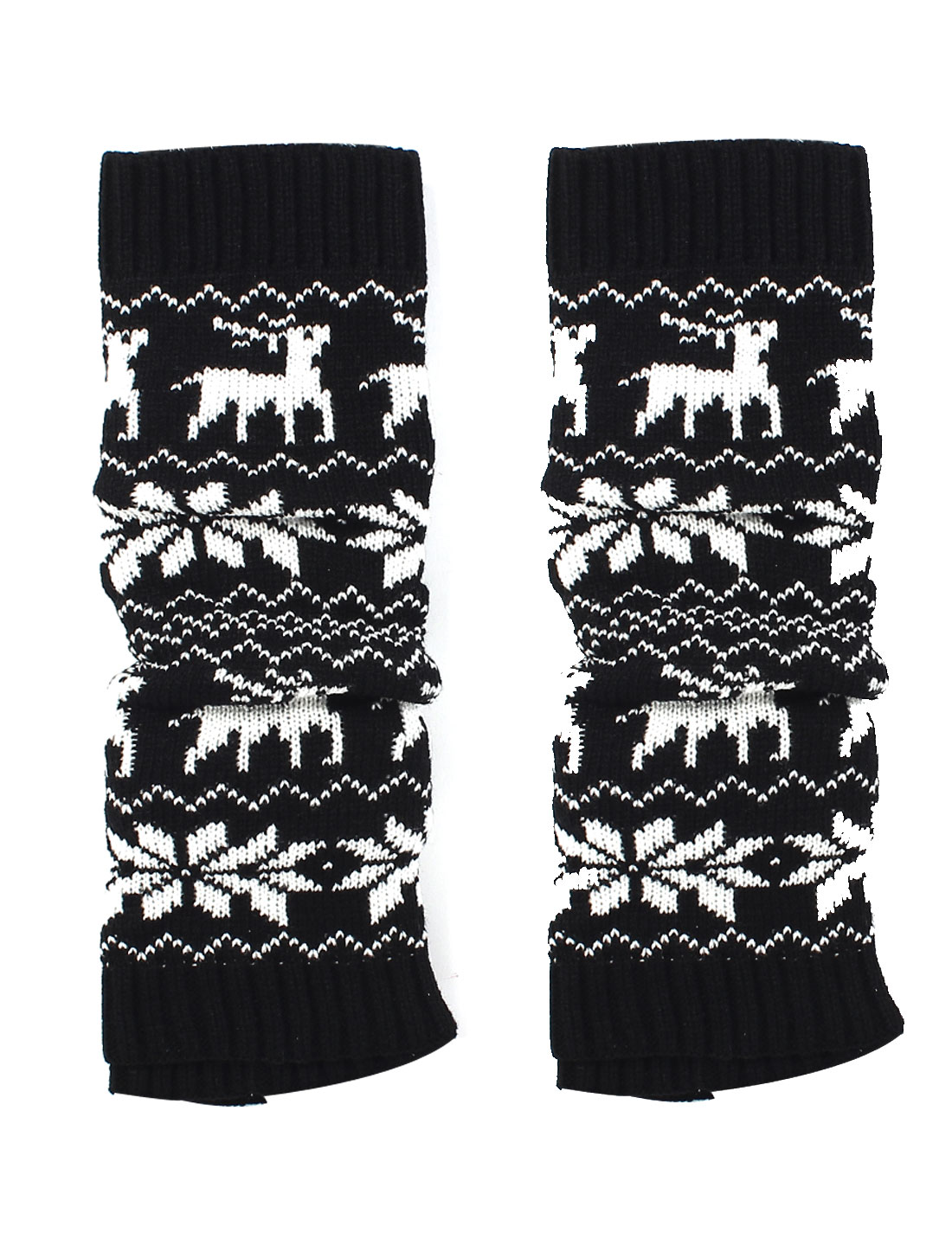 Christmas Reindeer Print Winter Knitted Leg Warmers Boot Cover Socks White Black