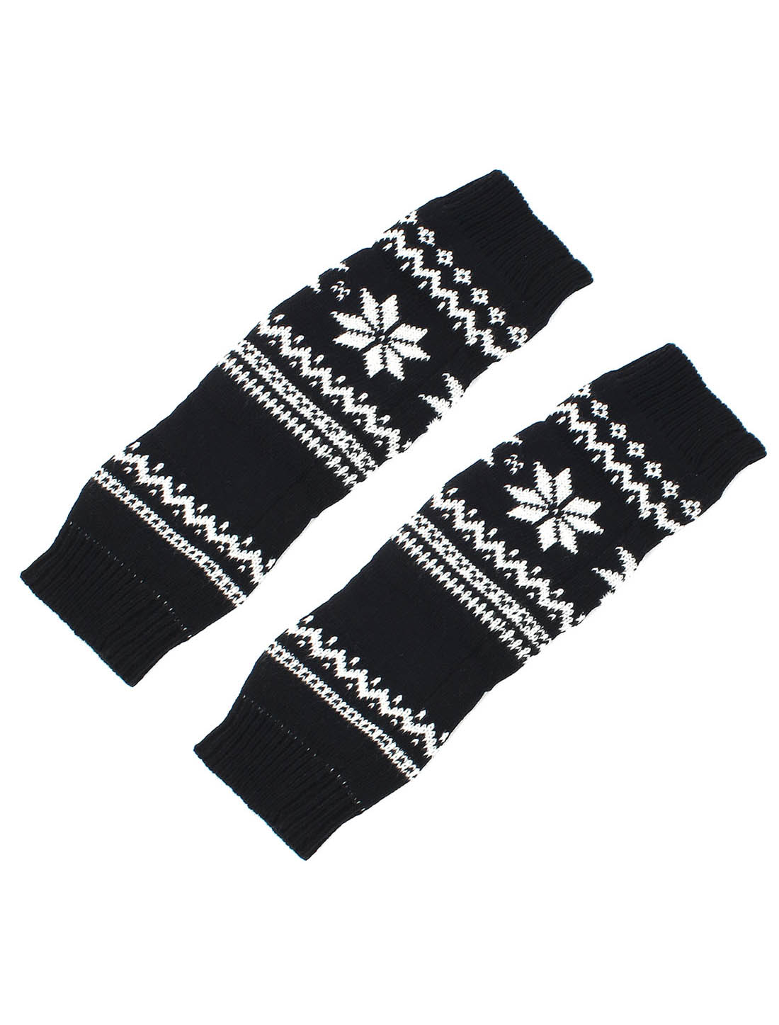 Lady Christmas Snowflake Print Winter Knitted Leg Warmers Boot Cover Socks Black