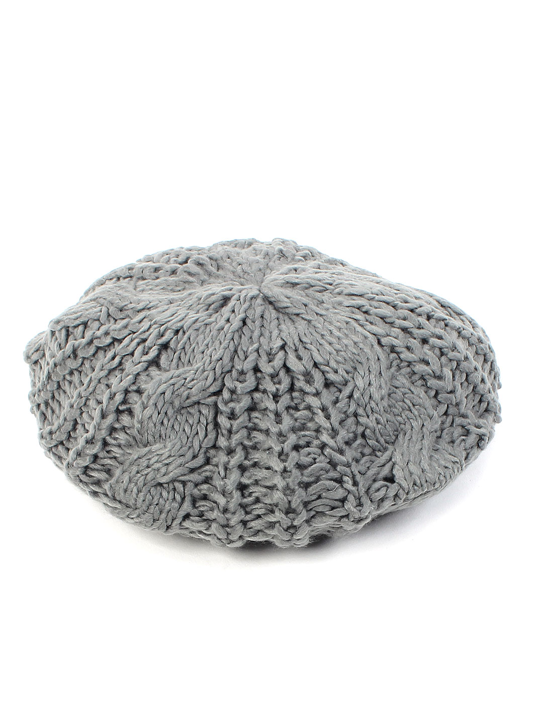 Lady Fashion Winter Warm Soft Knitted Crochet Baggy Beret Hat Beanie Cap Gray