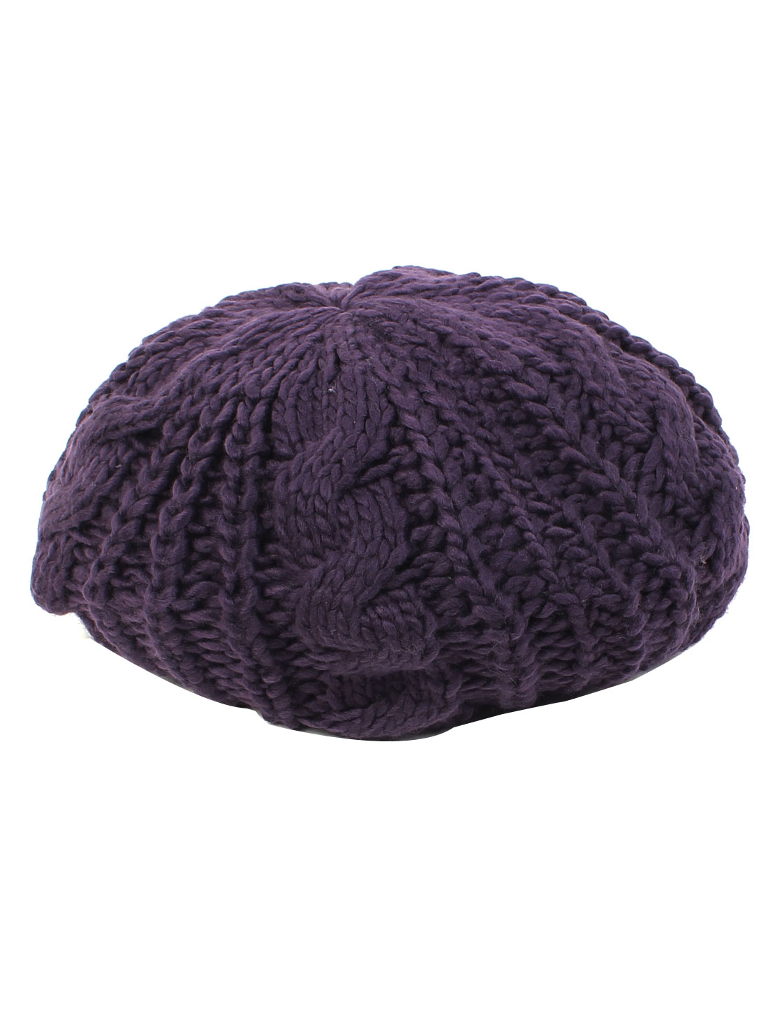 Lady Fashion Winter Warm Soft Knitted Crochet Baggy Beret Hat Beanie Cap Purple