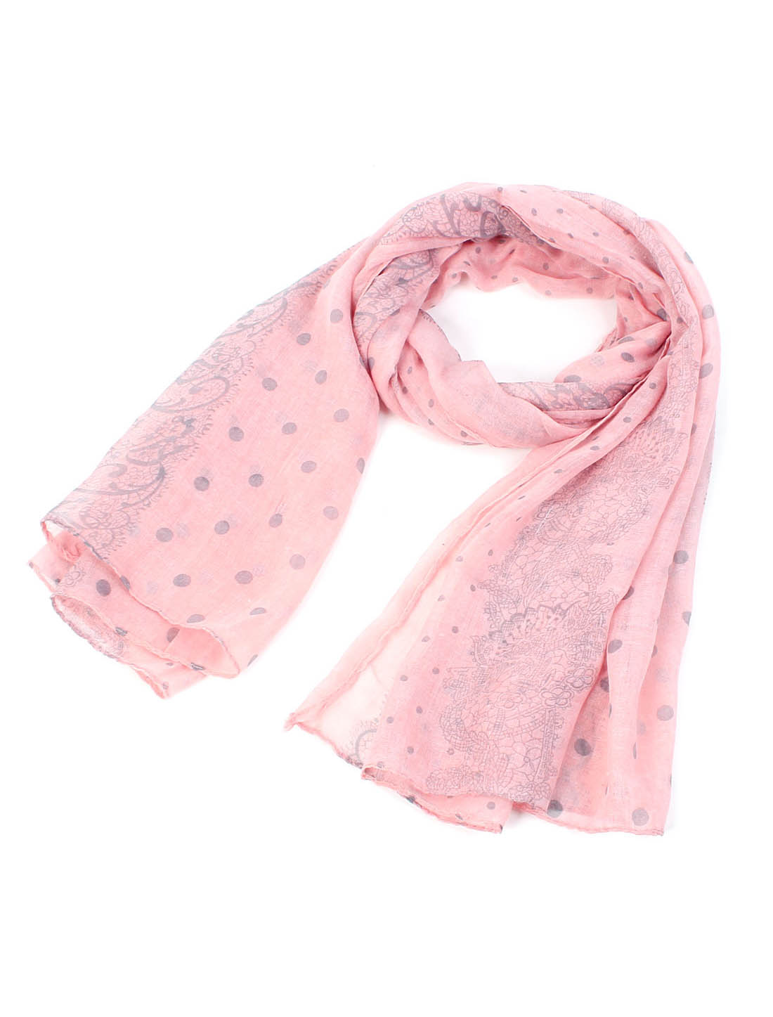 Women Fashion Soft Fabric Dots Floral Prints Long Scarf Shawl Wrap Black Pink