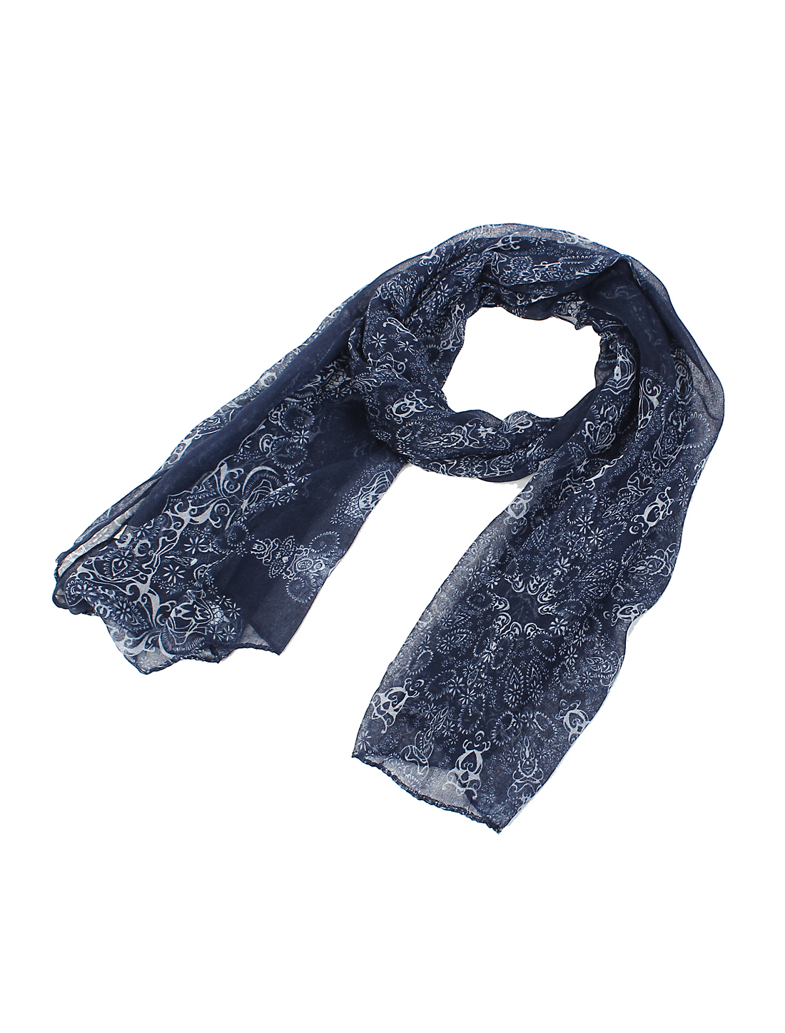 Women Fashion Fabric Chinese Porcelain Print Long Scarf Shawl Wrap Navy Blue