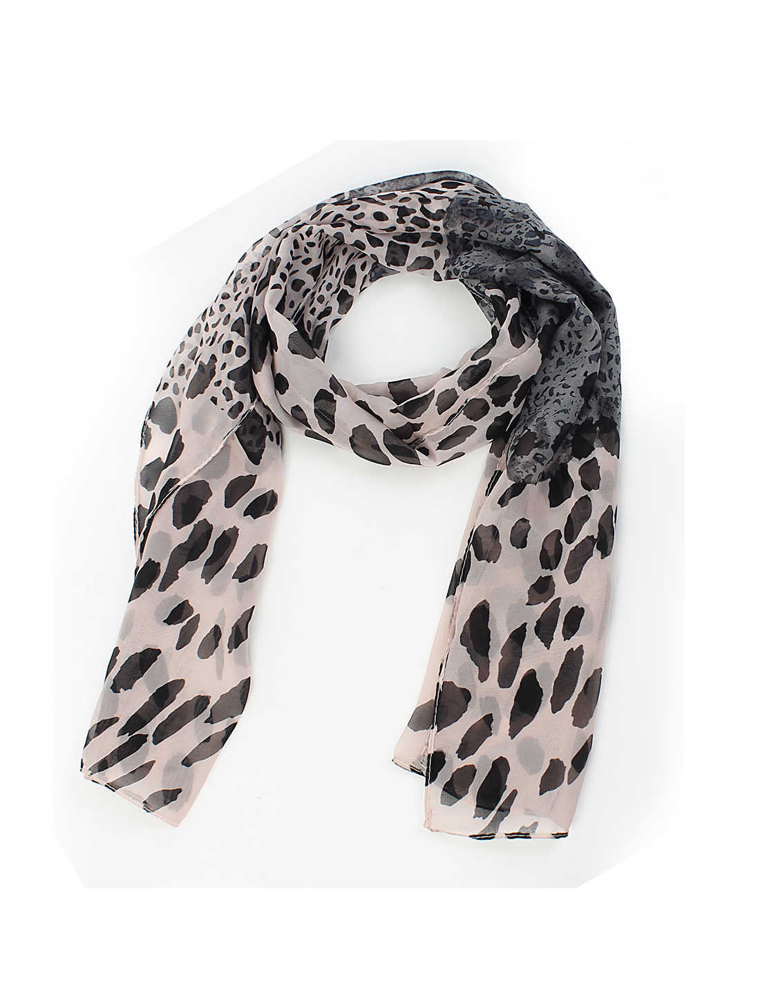 Women Lady Fashion Leopard Print Long Soft Chiffon Scarf Shawl Wrap Black Pink